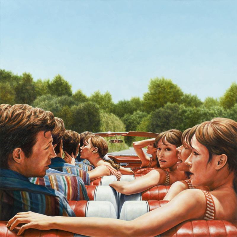 Eric White, 1961 Ford Galaxie 500 Sunliner (Pierrot Le Fou), 2010, Olio Su Tela,122 X 122 Cm