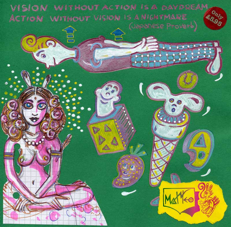 Matteo Guarnaccia, Vision Without Action, 2011, Mixed Media On Paper, 30x30 Cm