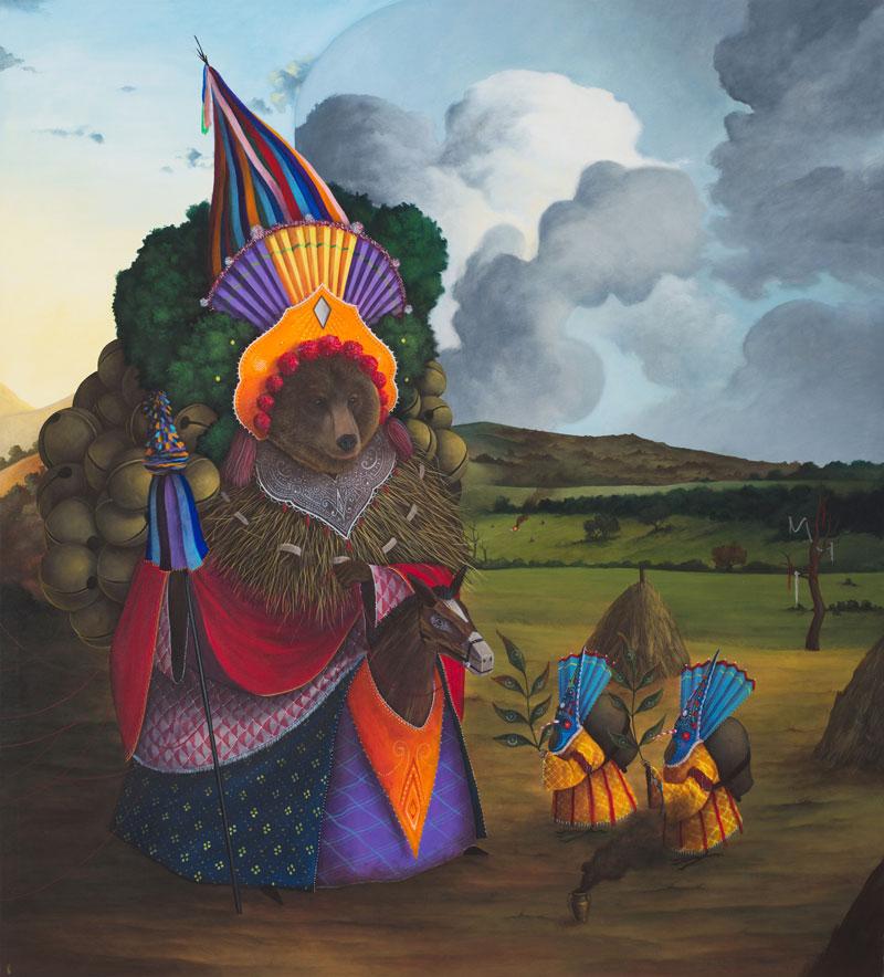 El Gato Chimney, Corrispondenze, 2015, acrylic on canvas, 110x100 cm