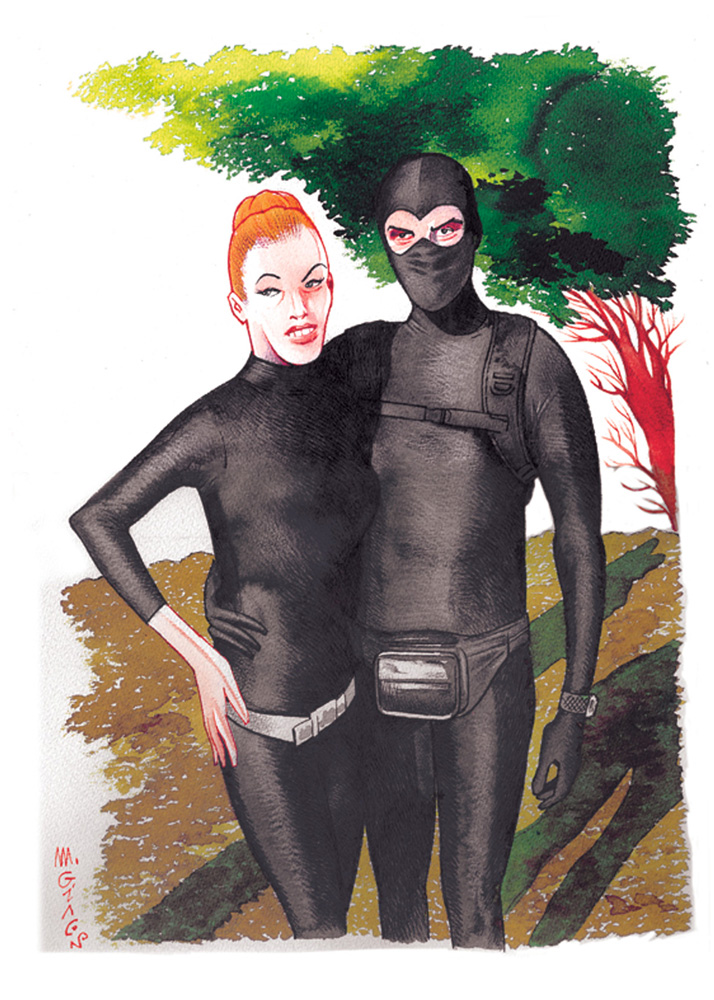 Massimo Giacon, Diabolik&Eva Cosplayer, 2012, ink and ecoline on paper, 40x30 cm