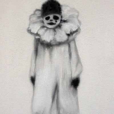 Pierrot, Acrilico Su Tessuto, Cm 40x30, 2004