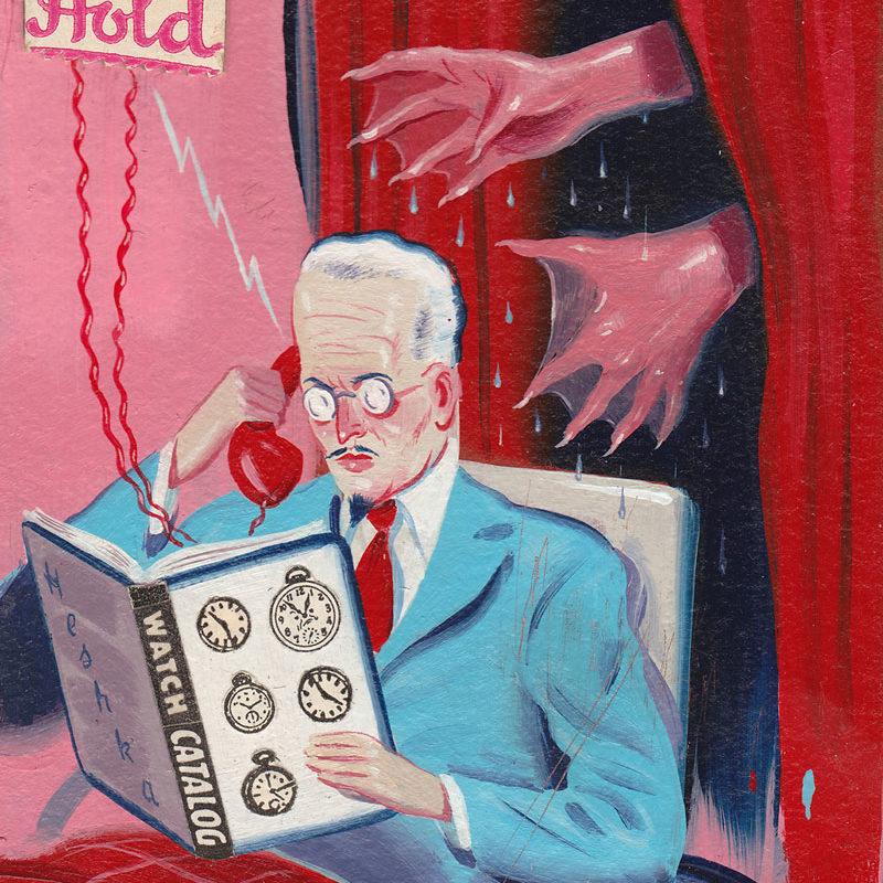 Ryan Heshka, Please Hold, 2012, Acrylic And Mixed Media On Board, 11x 8,5 Cm