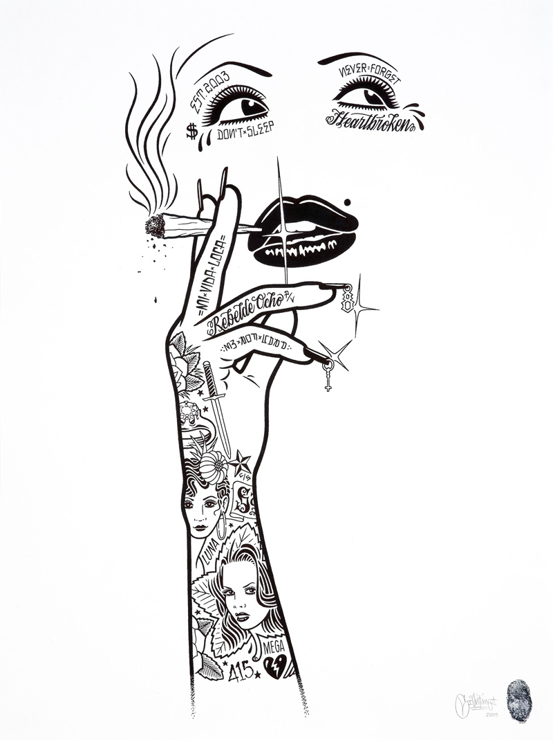 Mike Giant, Smokin' Hot, 2009, Ink On Paper, 61x46 Cm