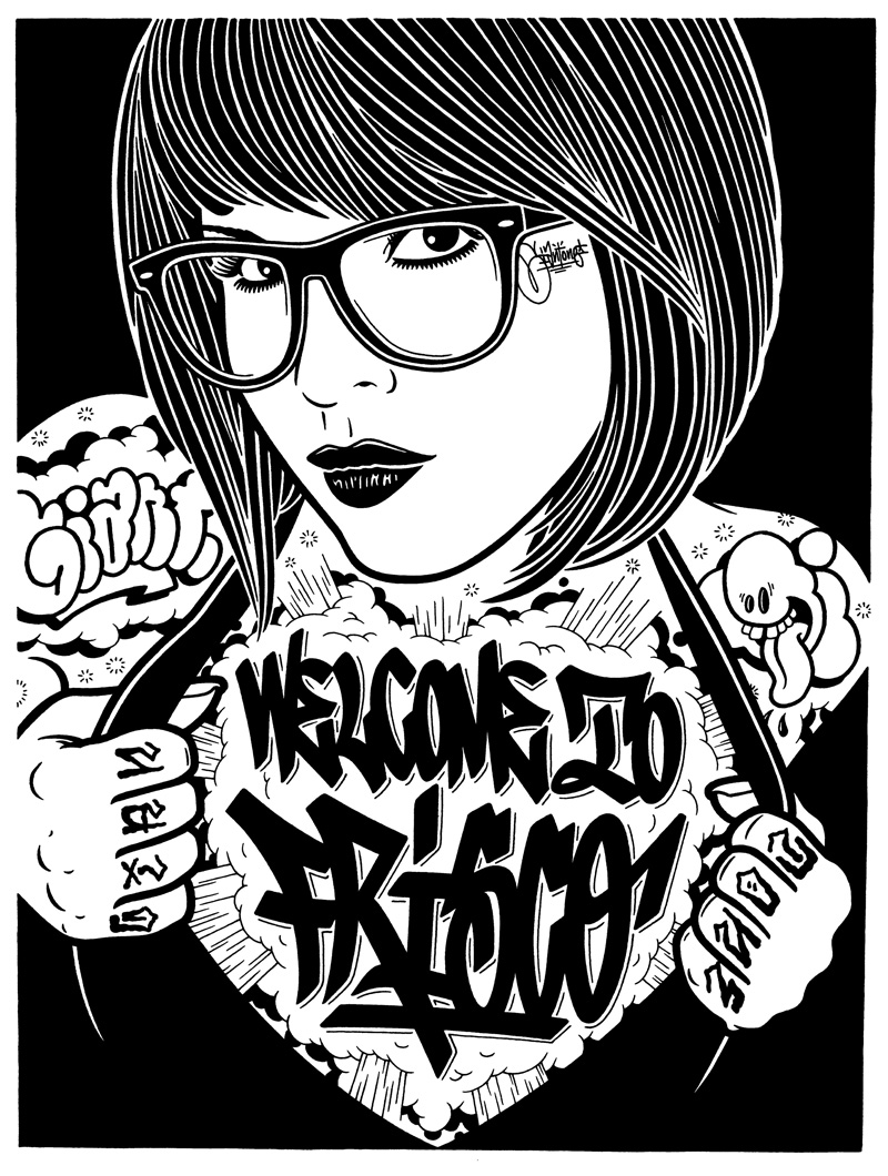 Mike Giant, Welcome To Frisco, 2010, Ink On Paper, 61x46 Cm