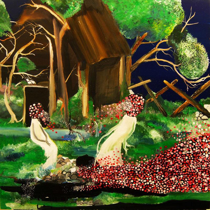 Silvia Argiolas, La veglia, oil and enamle on canvas, 60x60 cm