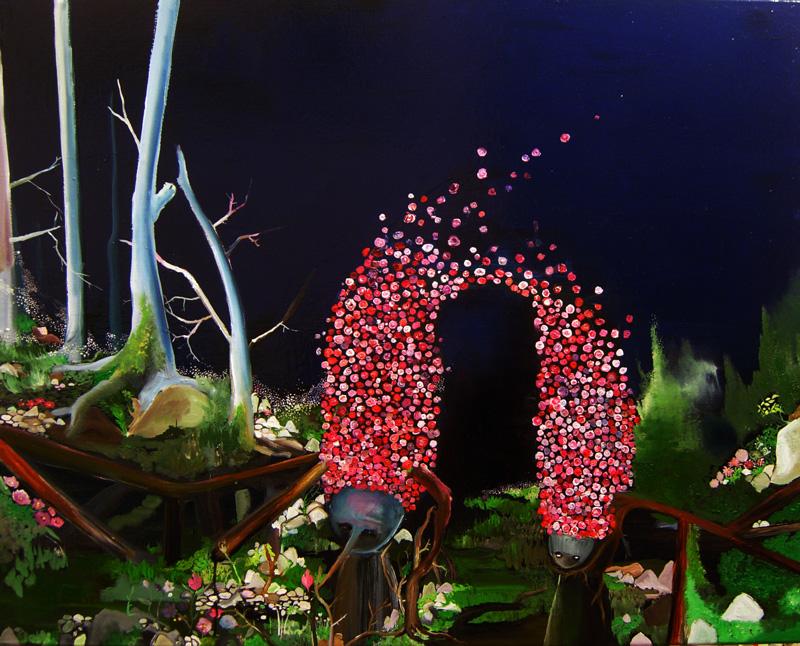 Silvia Argiolas, La porta di Jah, 2010, oil and enamel on canvas, 100x80 cm
