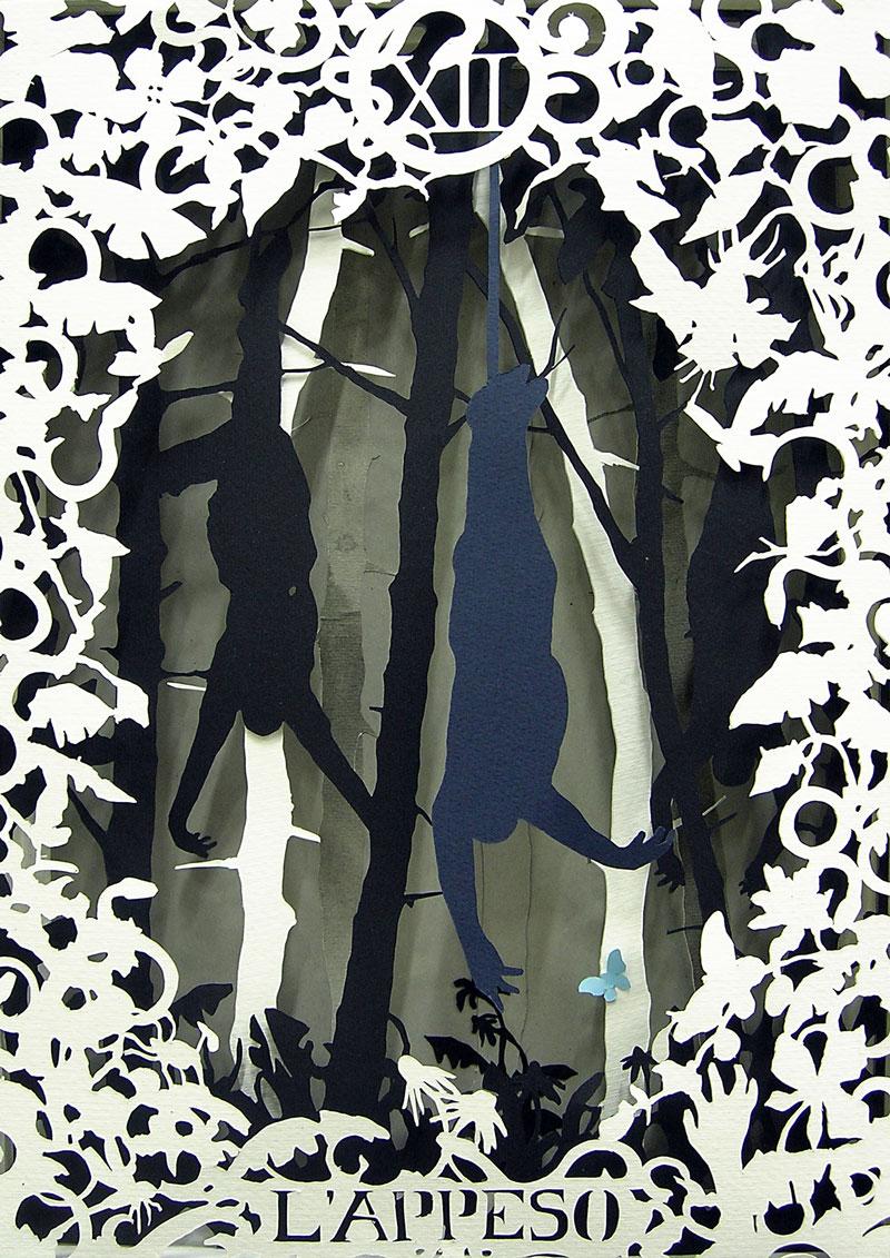 Andrea Mastrovito, XII-L'appeso, cm 40x30x6, collage