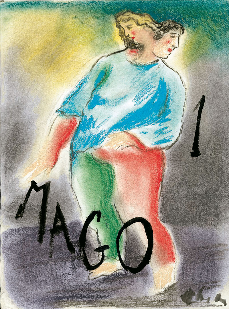 I- Sandro Chia, Il Mago, cm 40x30, pencils and acrylic on paper