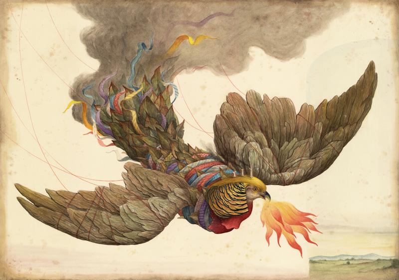 El Gato Chimney, Mimesis, 2015, mix media on cotton paper, 100x70 cm