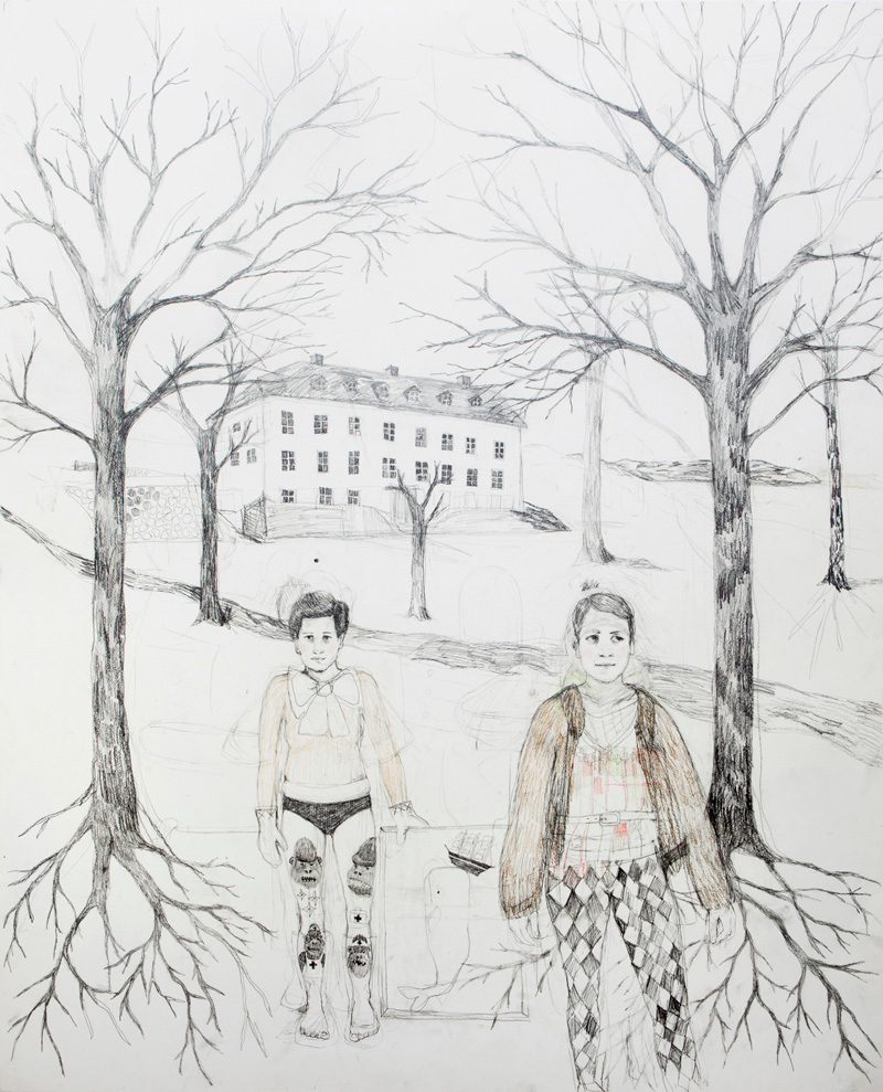 Erika Nordqvist, The Collectors, 2016, Pencil On Paper, 120x150 Cm