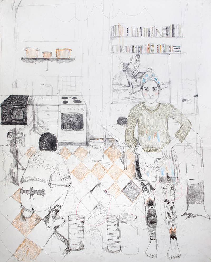 Erika Nordqvist, The Gatherers, 2016, Pencil On Paper, 120x150 Cm