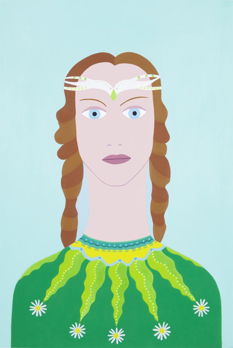 Fulvia Mendini, La Fata dei Prati, acryilic on paper, 56x38 cm