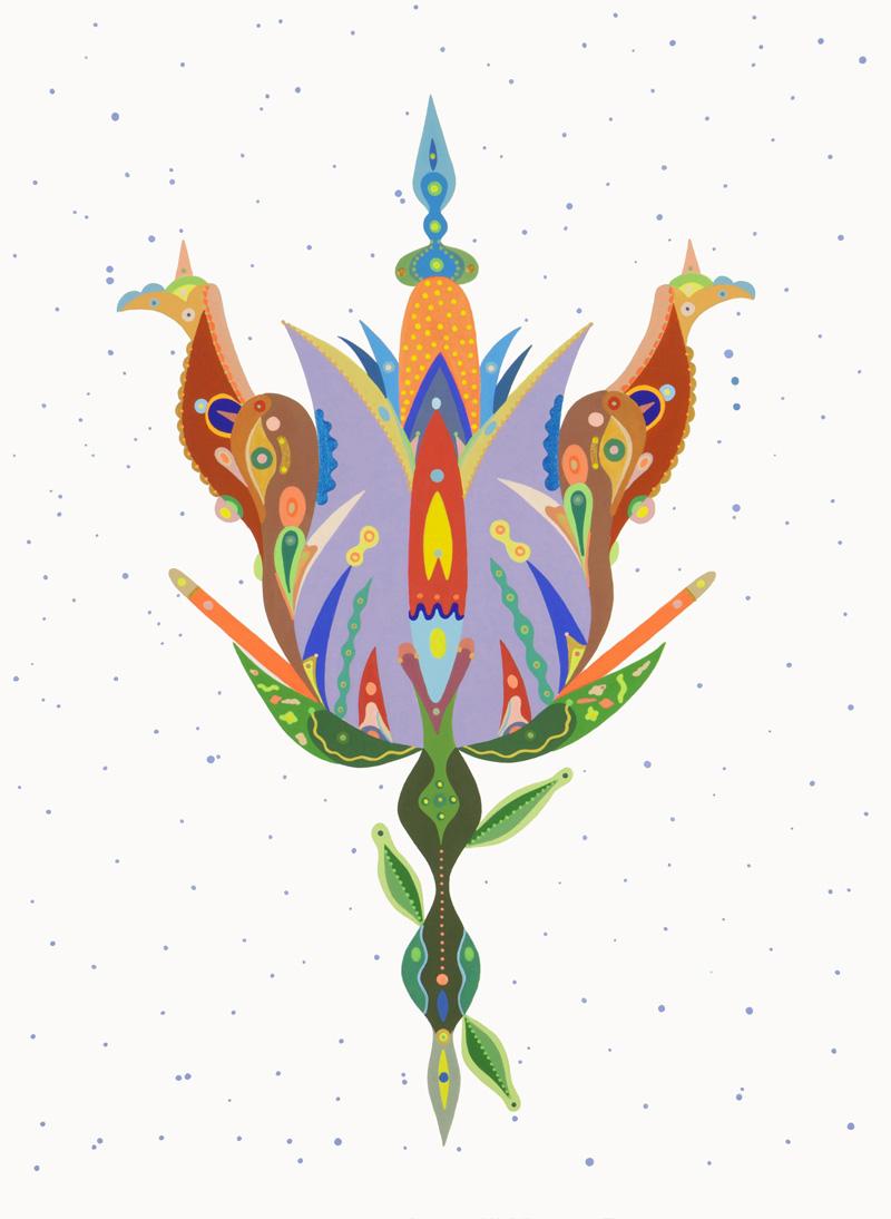 Fulvia Mendini, Orchidea dell'incanto, 2015, acrylic on paper, 77x56 cm