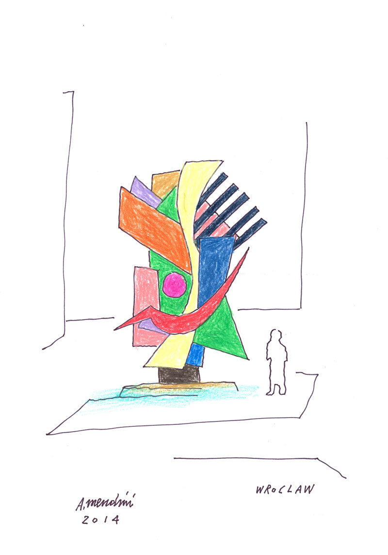A. Mendini,Scultura per Wroclaw, 2014, disegno su carta, cm 21×29,7- 1