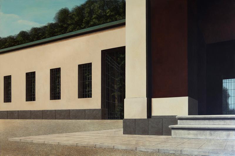 Arduino Cantafora, Domenica Pomeriggio III, 2016, vinilico e olio su tavola, 80×120 cm