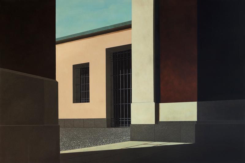 Arduino Cantafora, Domenica Pomeriggio IV, 2016, vinilico e olio su tavola, 80×120 cm