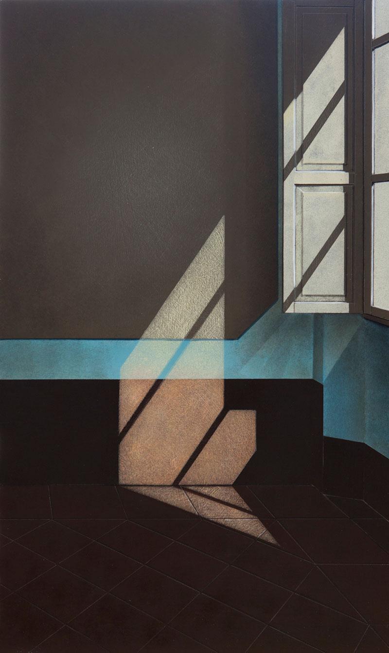 Arduino Cantafora, Finestra II, 2016, vinilico e olio su tavola, 49,5×29,5 cm