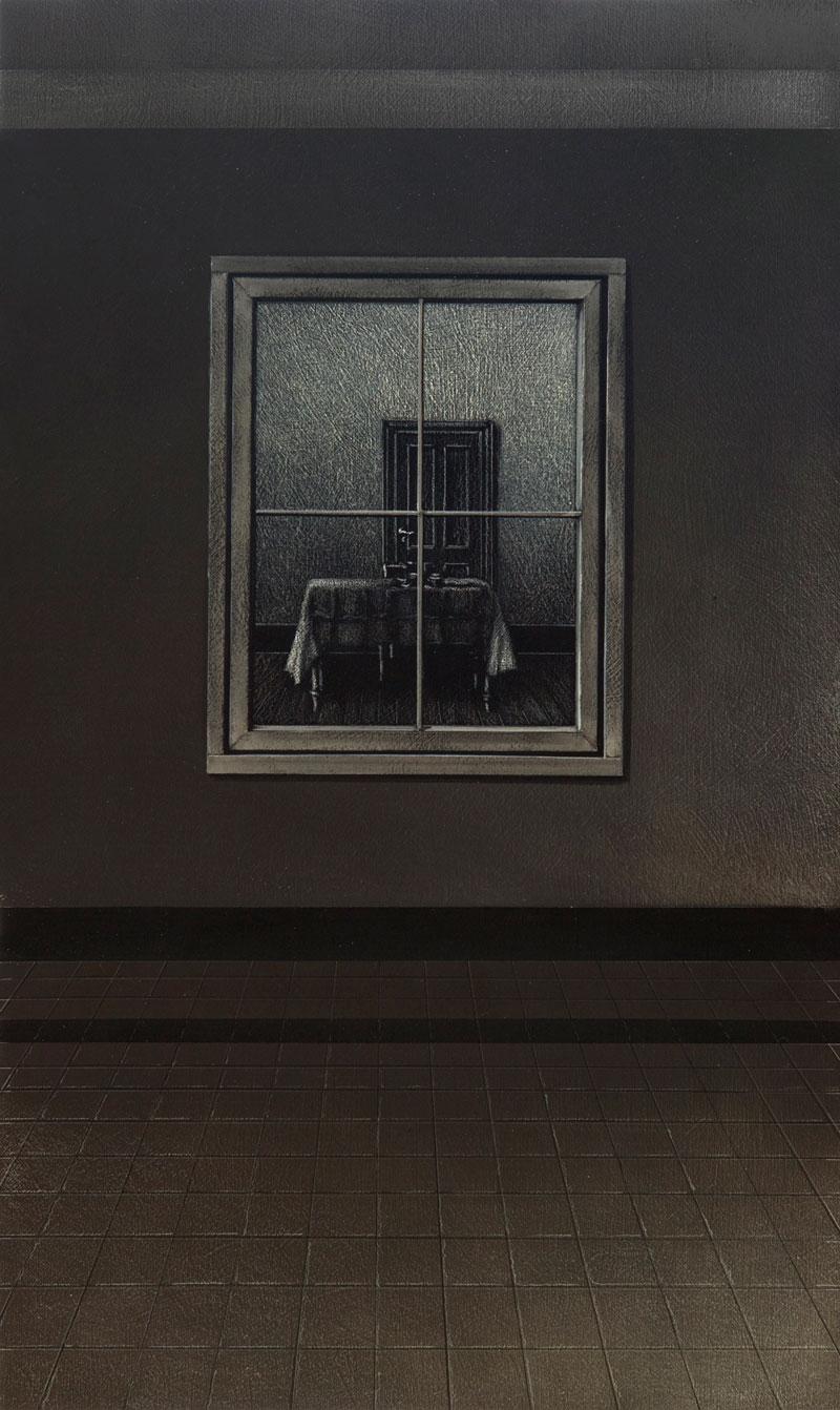 Arduino Cantafora, La Casa I, 2016, vinilico e olio su tavola, 49,5×29,5 cm