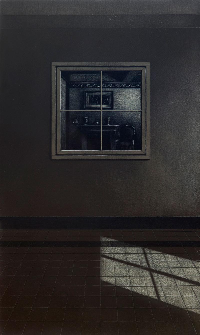 Arduino Cantafora, La Casa III, 2016, vinilico e olio su tavola, 49,5×29,5 cm
