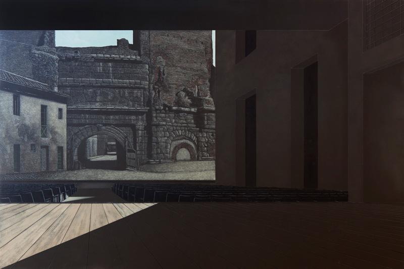 Arduino Cantafora, Teatri Di Città 2, 2016, Vinilico E Olio Su Tavola, 80x120cm