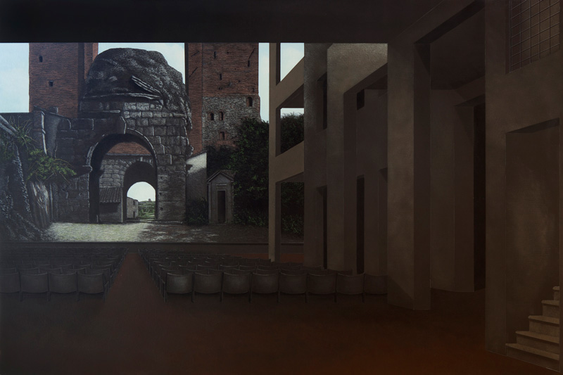 Arduino Cantafora, Teatri Di Città I, 2016, Vinilico E Olio Su Tavola, 80×120 Cm