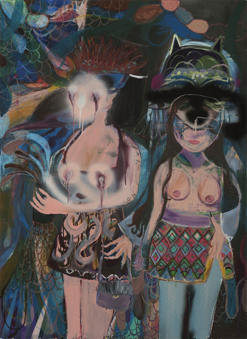 Silvia Argiolas, Dentro Il Locale, 2016, Mixed Media On Canvas, 110×150 Cm