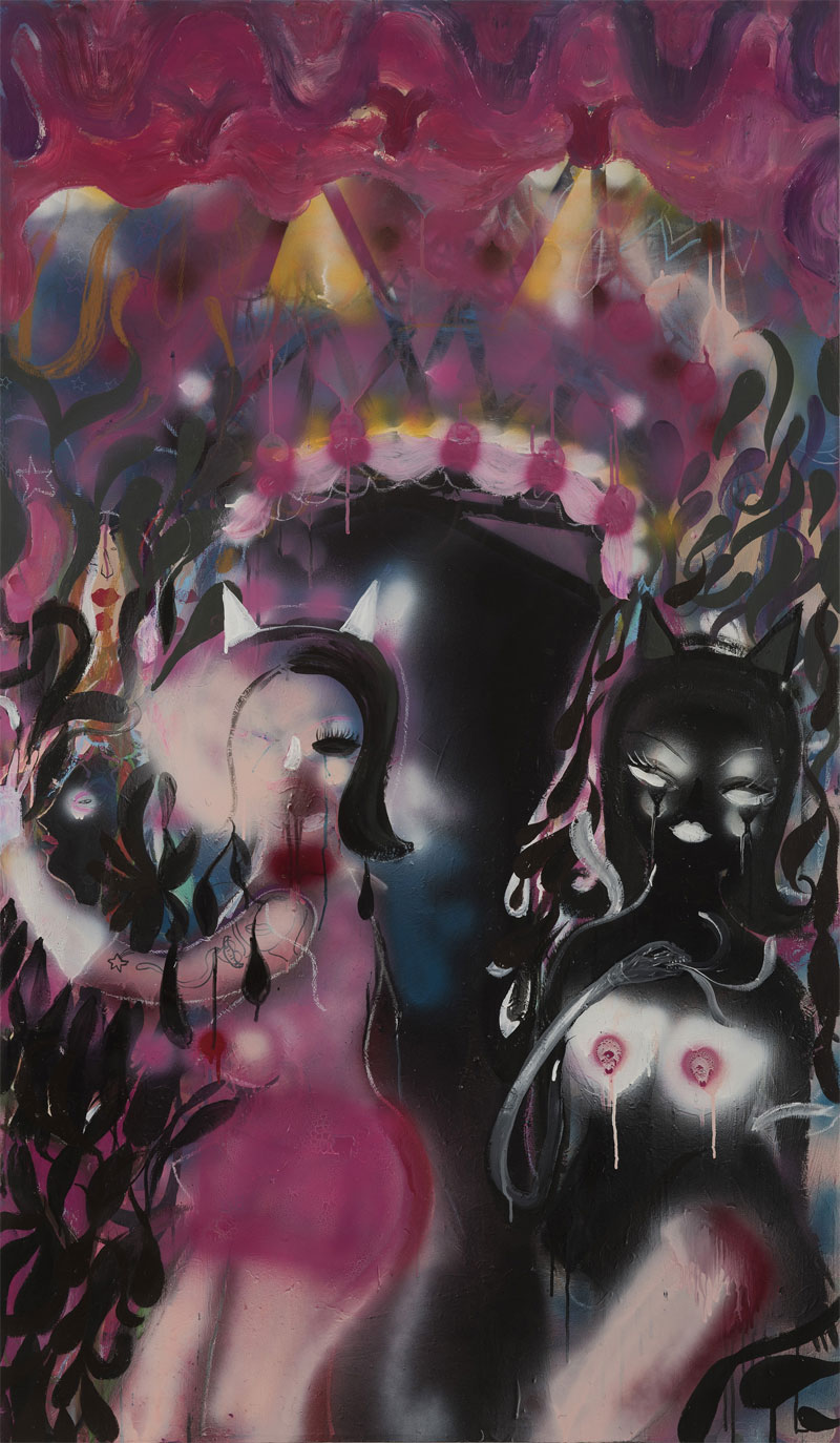 Silvia Argiolas, Pussy Gate, 2016, mixed media on canvas, 100x170 cm