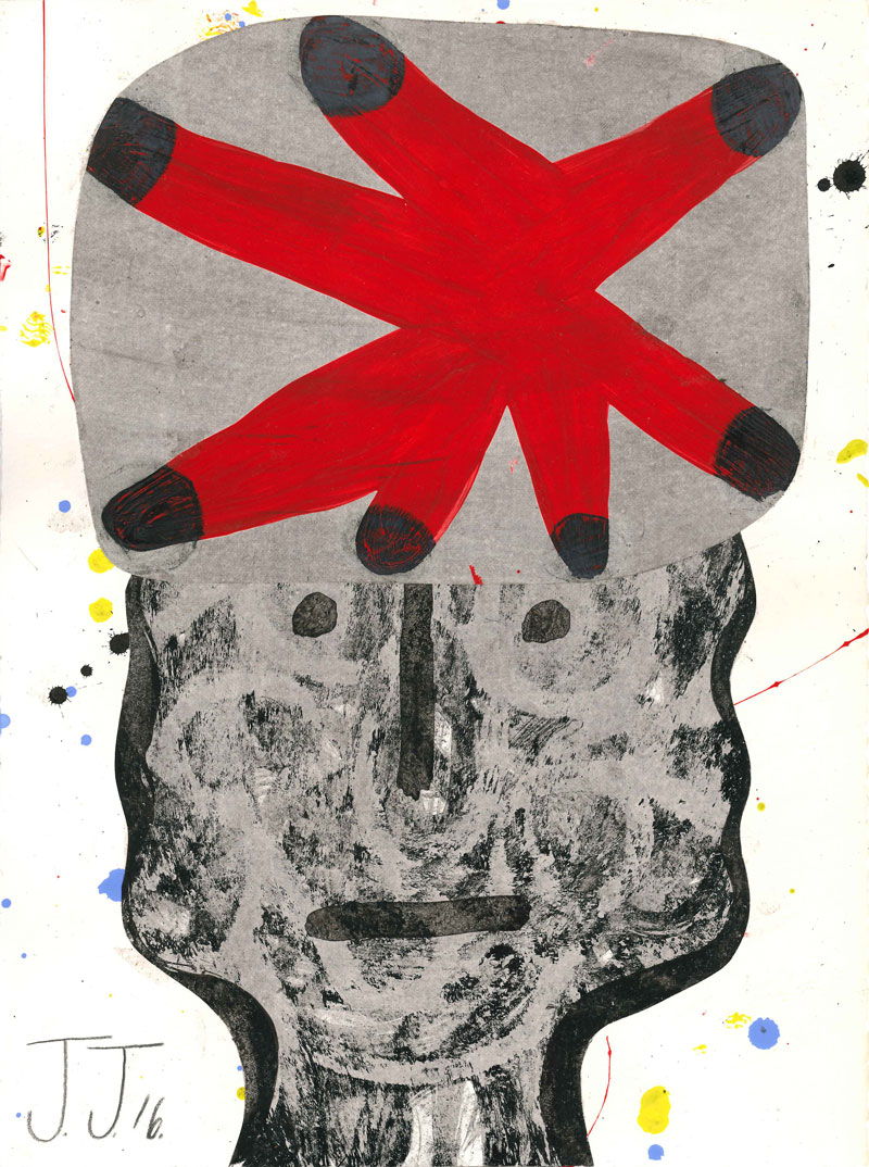Josh Jefferson, Man With A Funny Hat, 2016, Collage On Paper, 30,5×23 Cm