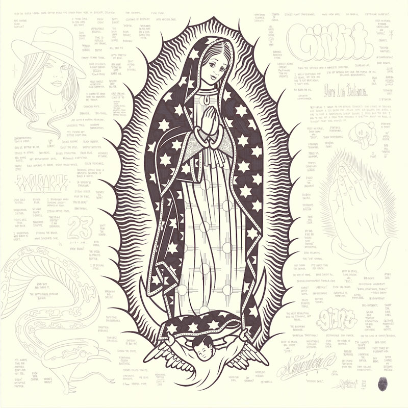 Mike Giant, Large Guadalupe, 2016, Ink On Paper, 92×92 Cm