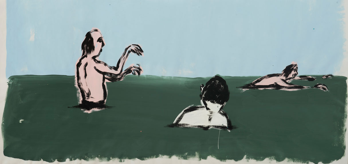 Russ Pope, Summer Swimmers, 2016, Acrylic On Canvas, 76×167 Cm