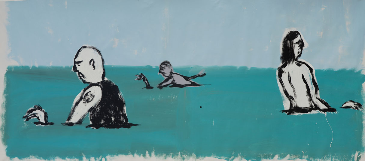 Russ Pope, Summer Swimmers, 2016, Acrylic On Canvas, 71×167 Cm