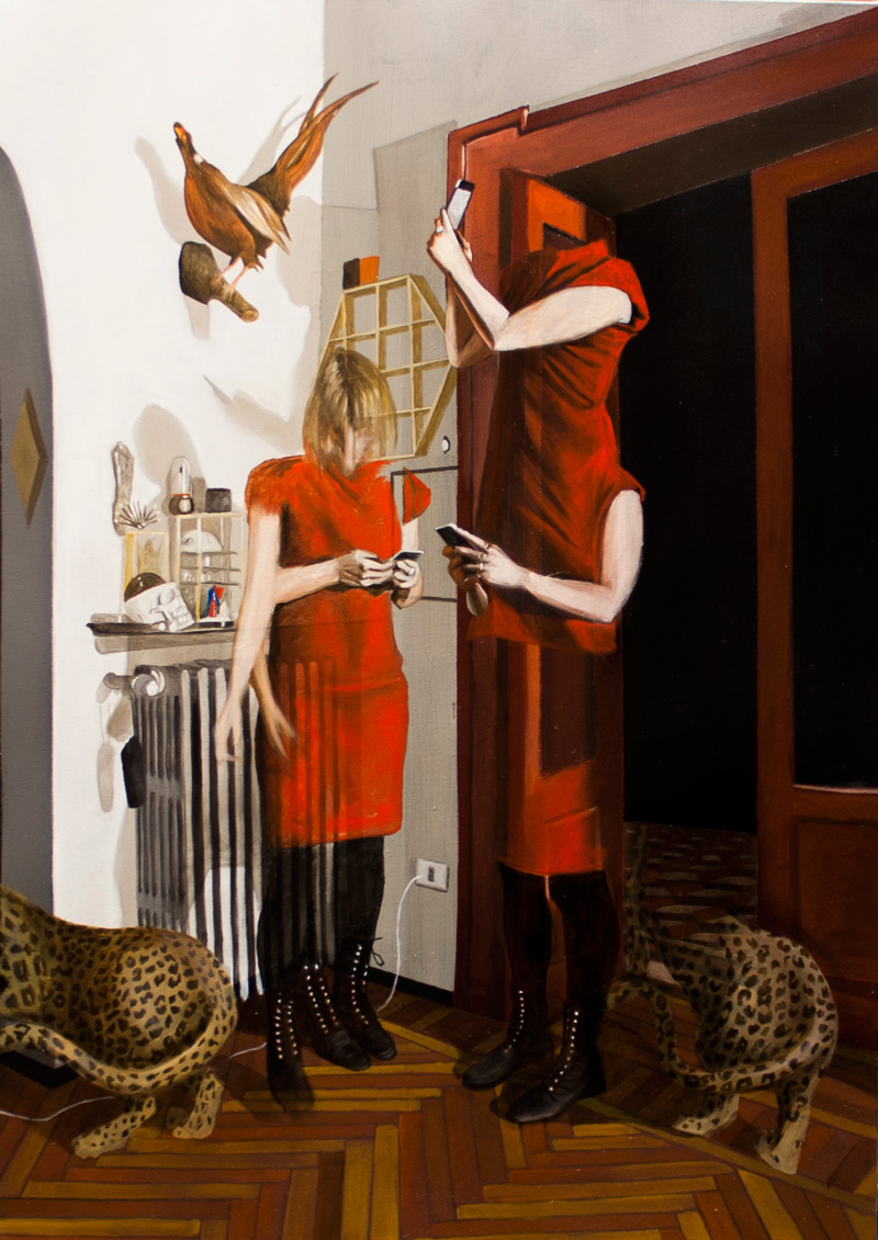 Dario Maglionico, Reificazione-#28, 2017, oil on canvas, 70×50 cm