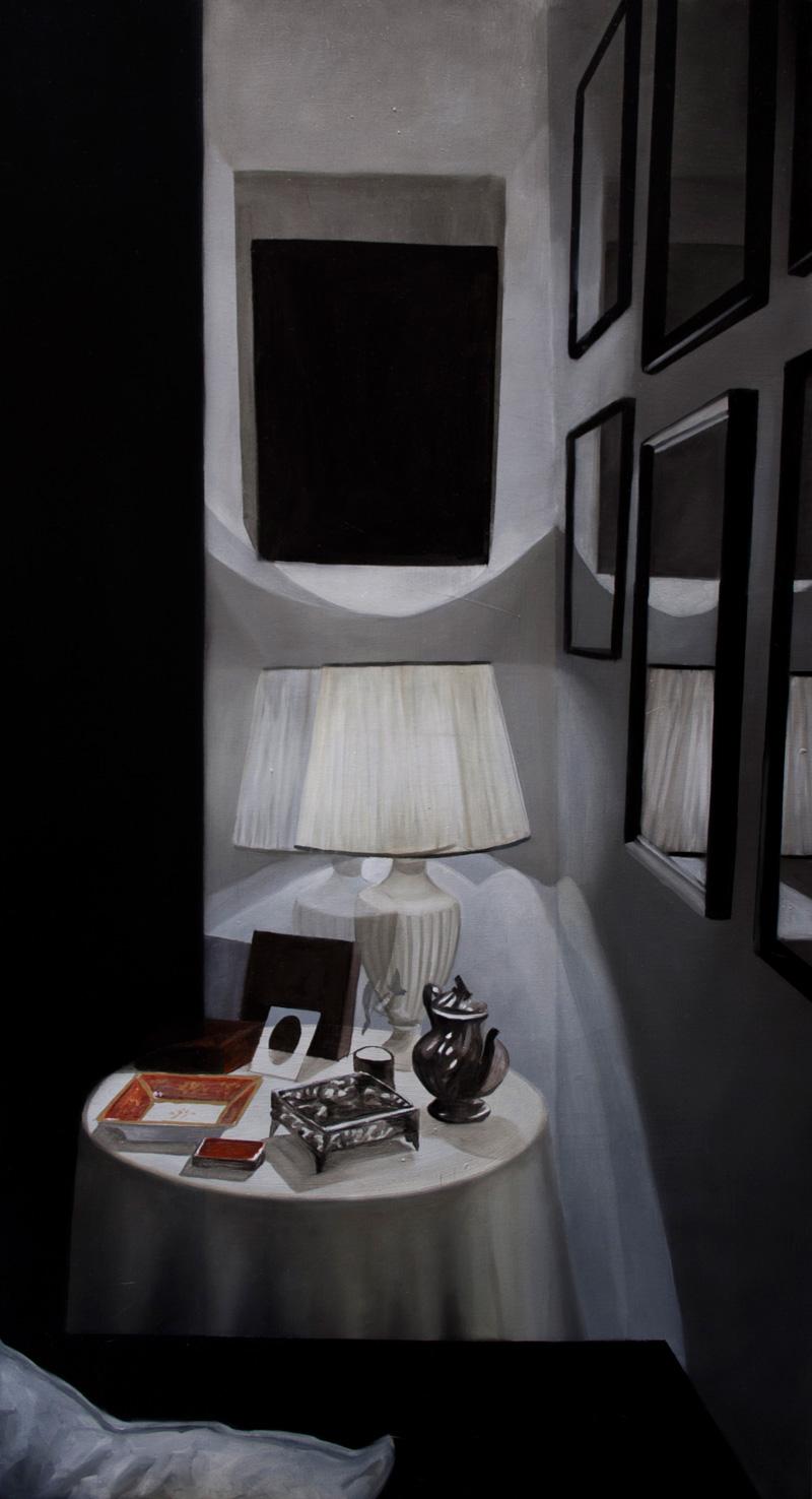 Dario Maglionico, Studio del buio, angolo, 2017, oil on canvas, 100x55 cm