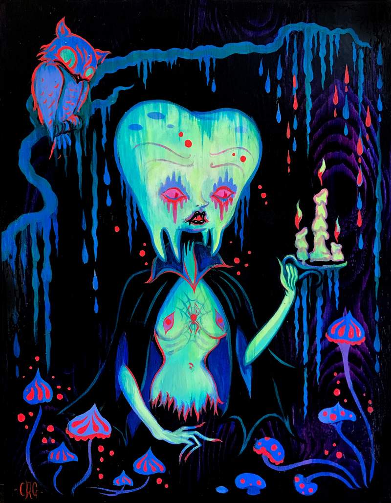 Camille Rose Garcia, I'm Lost in the dark Lend me your teeth, 2017, acrylic and glitter on board, 36×28 cm