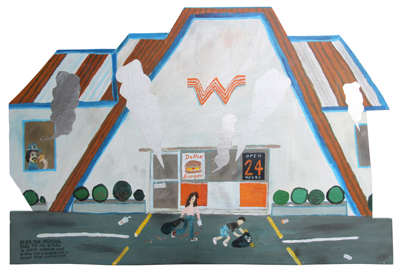 Esther Pearl Watson, Never Stop Dreaming Whataburger, 2017, mixed media on board, 20×30 cm
