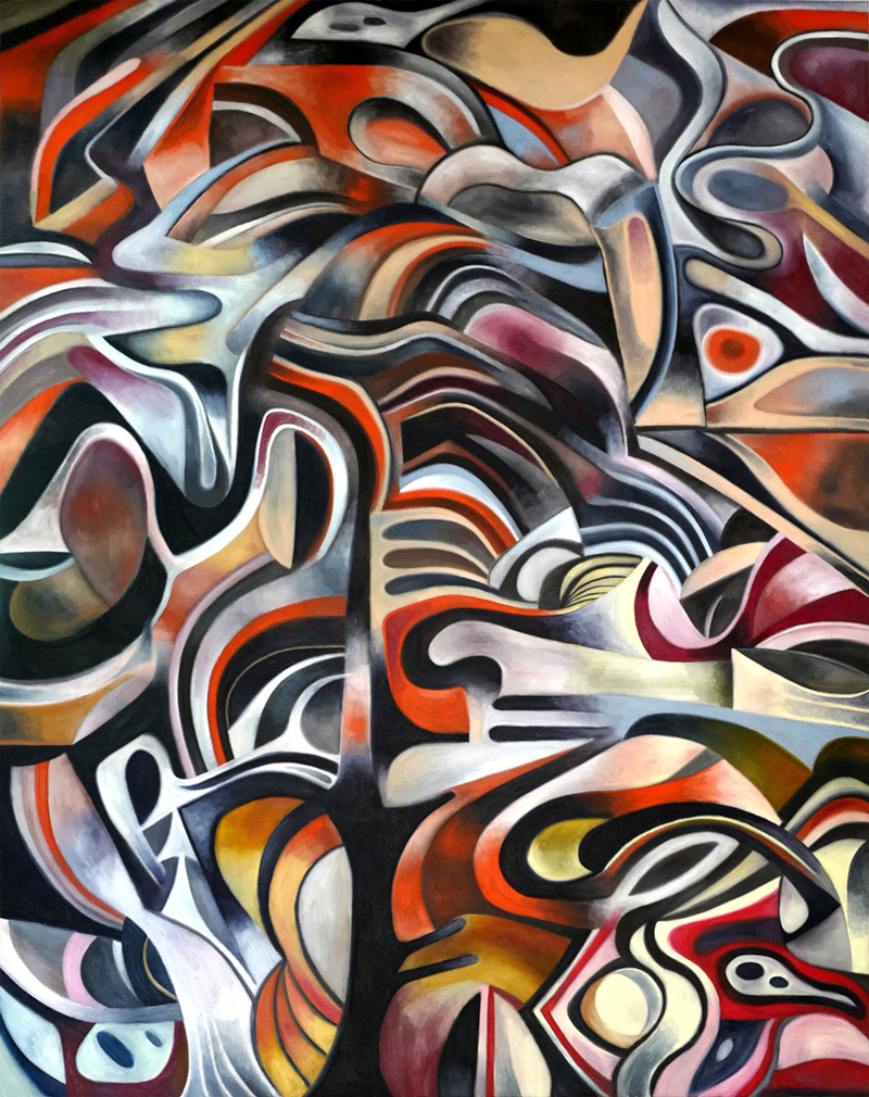 Zio Ziegler, Untitled (Abstract forms), 2017, oil on canvas, 243×182 cm