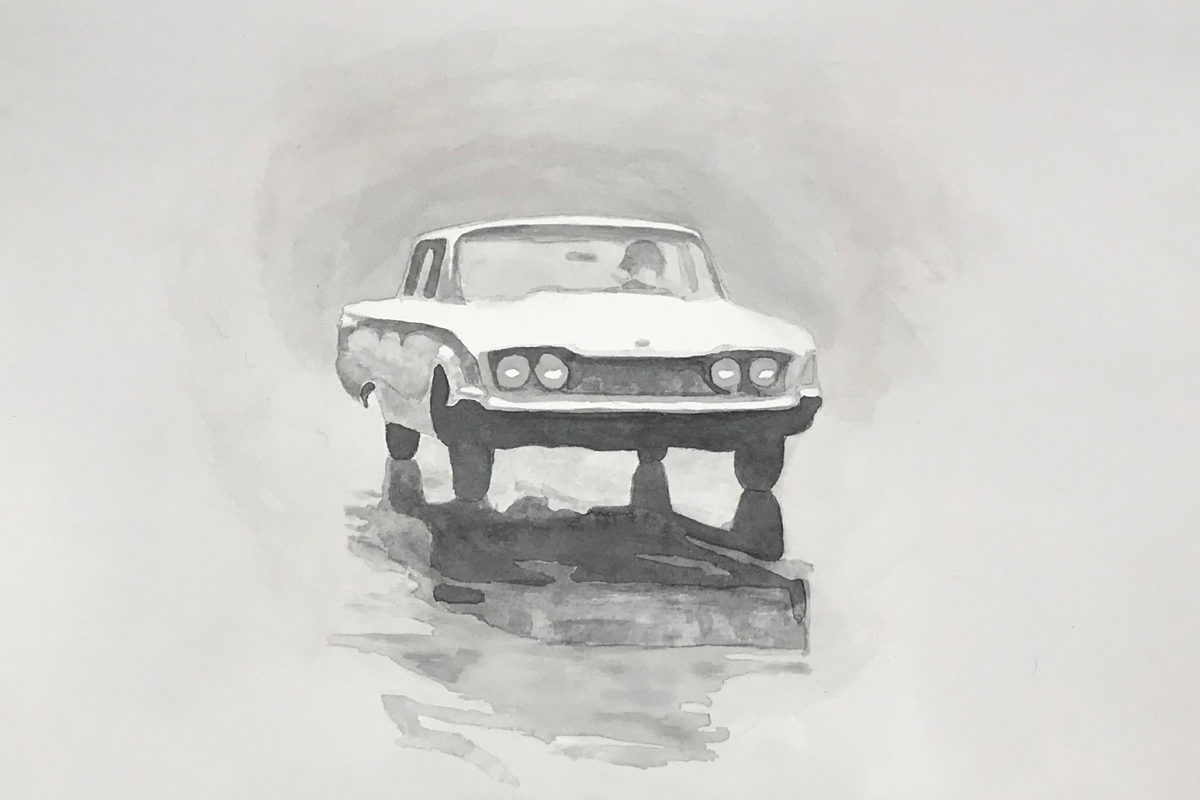 Joshua Huyser, A Car In The Rain, Watercolor On Paper, 35.5 X 44