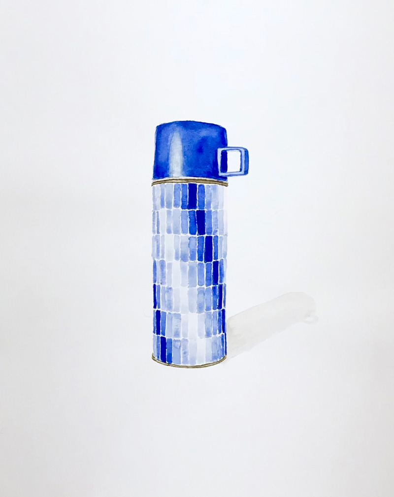 Joshua-Huyser,-checkered-thermos,-watercolor-on-paper,-44.5cm-x-35.5cm,-2015