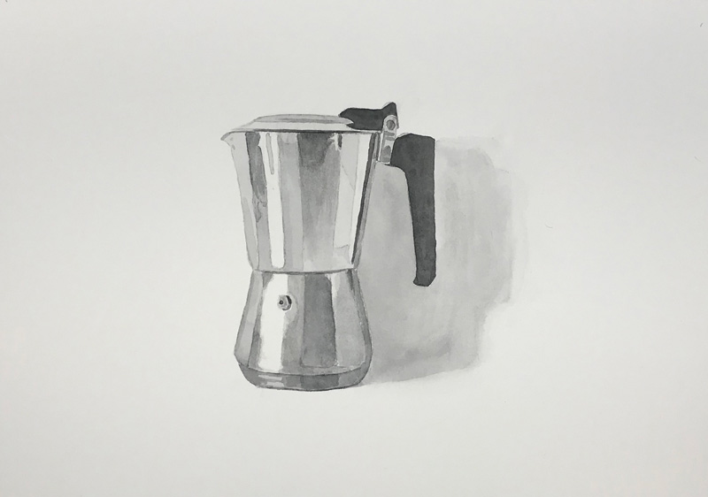 Joshua-Huyser,-coffee-maker,-watercolor-on-paper,-25.5cm-x-35.5cm,-2017