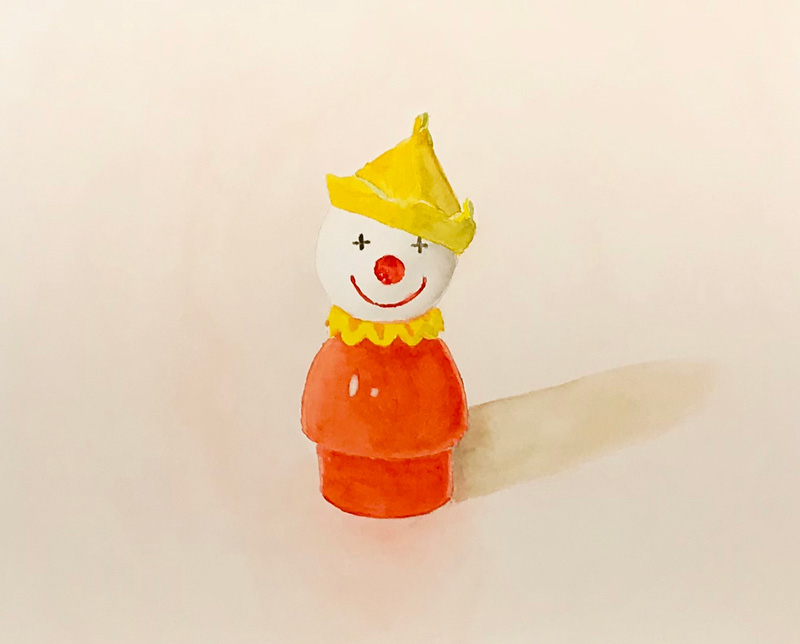 Joshua-Huyser,-little-people-clown,-watercolor-on-paper,-28cm-x-35cm,-2016