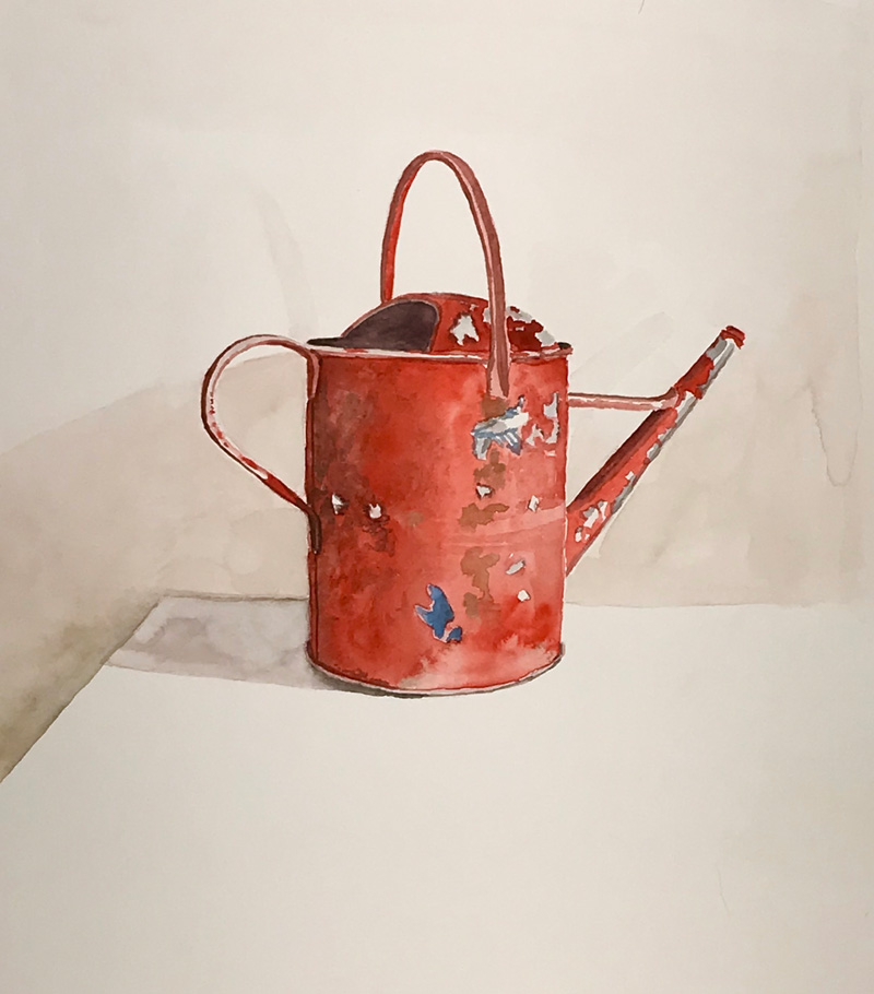 Joshua-Huyser,-old-watering-can,-watercolor-on-paper,-33.5cm-x-29.8cm,-2015