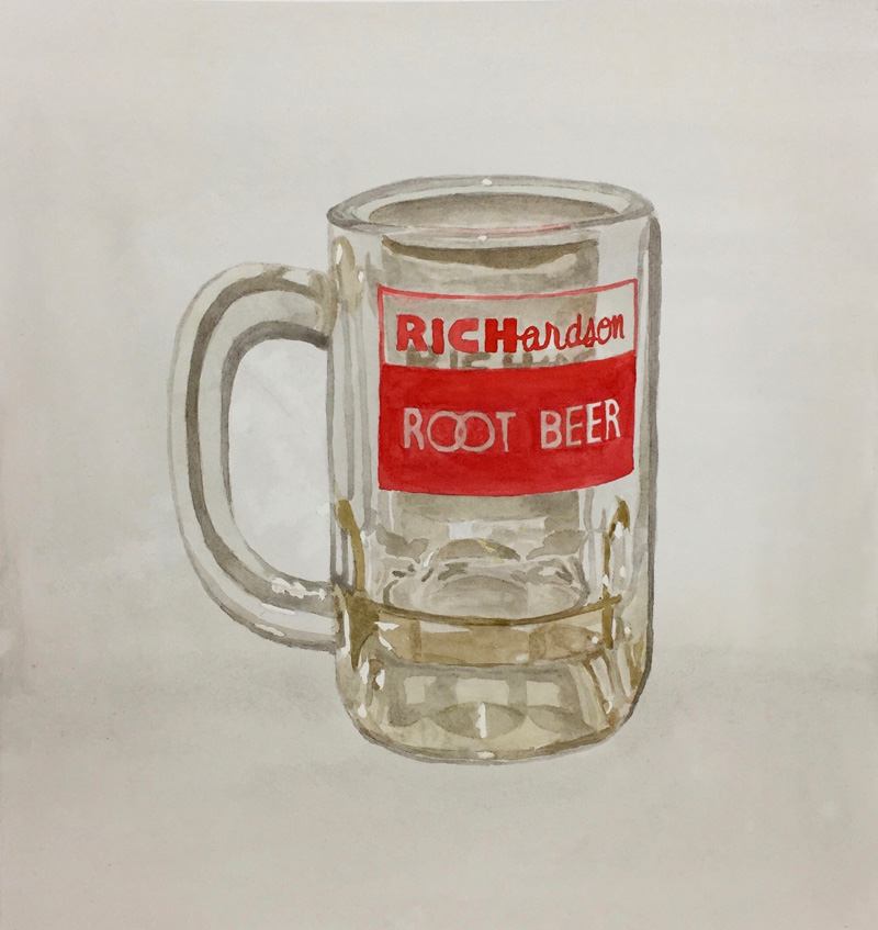 Joshua-Huyser,-root-beer-mug,-watercolor-on-paper,-35.5cm-x-33cm,-2017