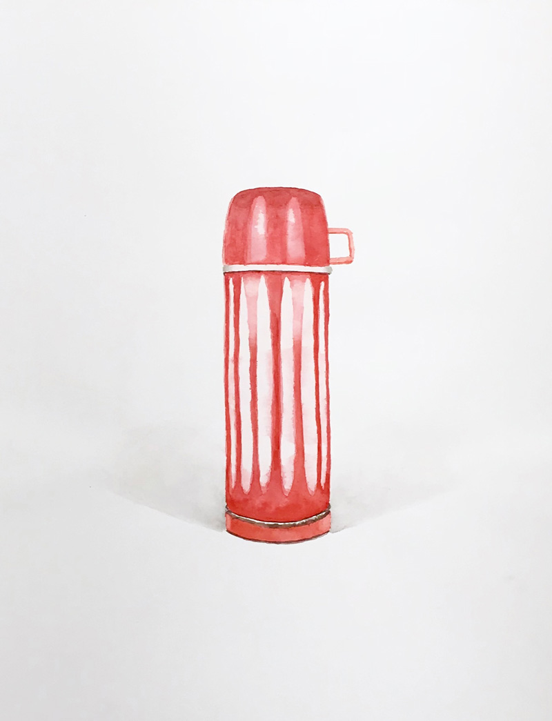 Joshua-Huyser,-vertically-striped-thermos,-watercolor-on-paper,-44.5cm-x-35.5cm,–2015