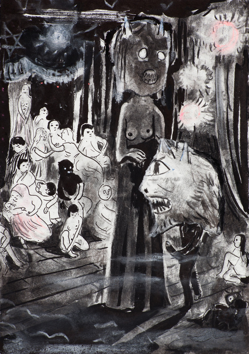 Tilo Baumgärtel, Can Club, 2014, charcoal, ink, pastel on paper, 29x21cm