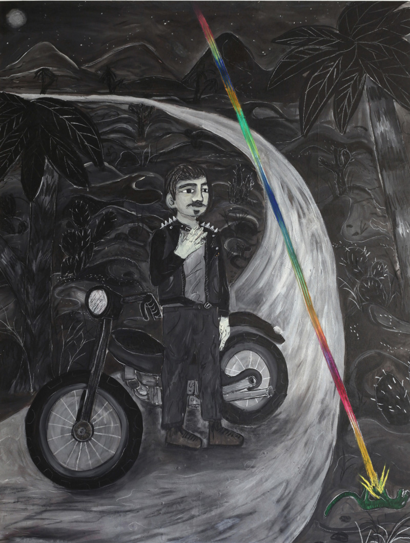 Andrea Fiorino, Giorgio e la lucertola del deserto, 2018, mixed media on canvas, 165×125 cm