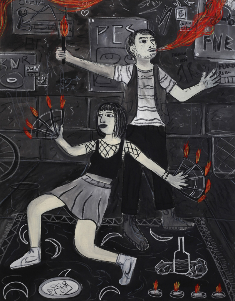 Andrea Fiorino, Mangia fuoco, 2018, mixed media on canvas, 119×93 cm