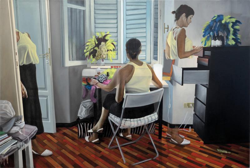 Dario Maglionico, Reificazione #40, 2017, oil on canvas, 100×150 cm