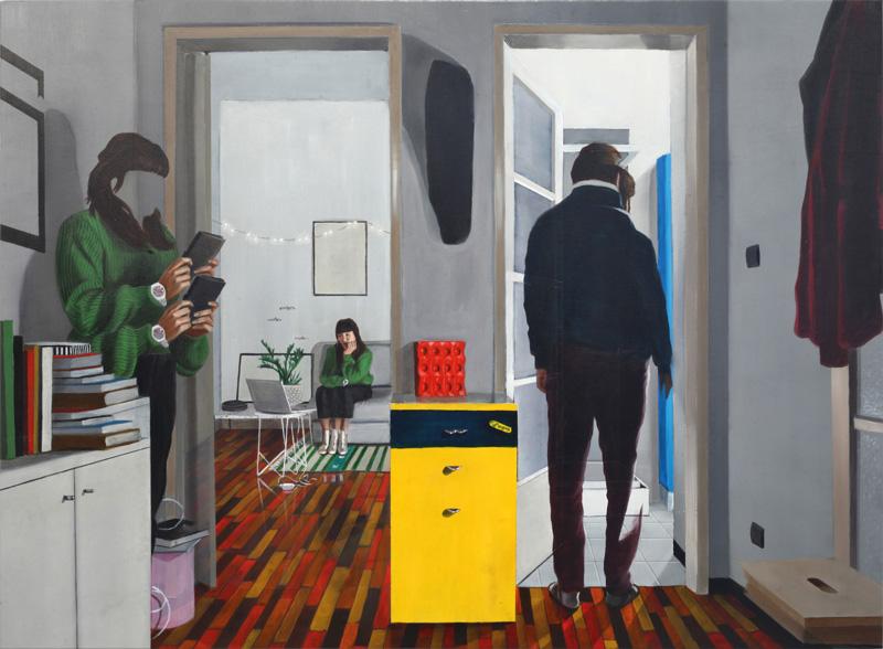 Dario Maglionico, Reificazione #49, 2018, oil on canvas, 70×95 cm