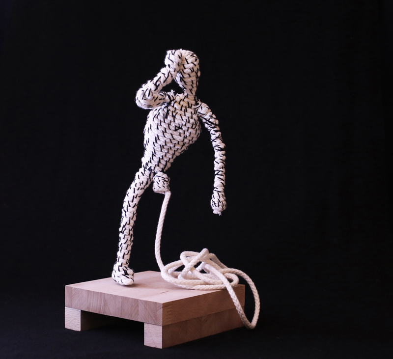 Stefano Sabatè, S(cucito), rope and wood, 15x15x30 cm, edition of 6
