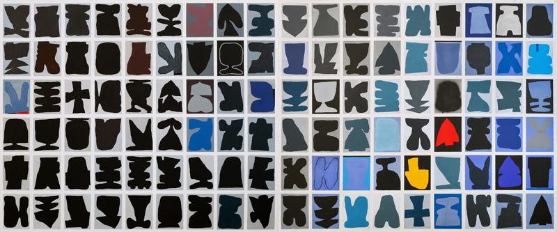 108, Porte Inverno, 2018, tecnica mista su tela, 100×240 cm, diptych